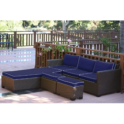 Saint Helena 5 Piece Deep Seating Group Set Fabric: Blue