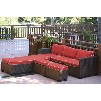 Saint Helena 5 Piece Deep Seating Group Set Fabric: Red