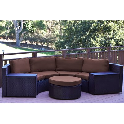 Cartagena 5 Piece Seating Group with Cushion Fabric: Brown
