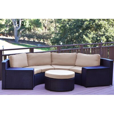Cartagena 5 Piece Seating Group with Cushion Fabric: Tan