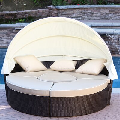 All-Weather 4 Piece Daybed Seating Group Set with Cushions Fabric: Tan