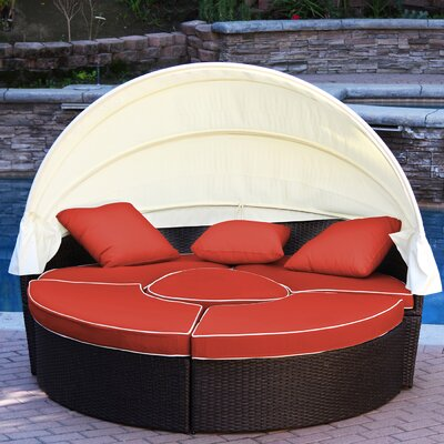All-Weather 4 Piece Daybed Seating Group Set with Cushions Fabric: Red