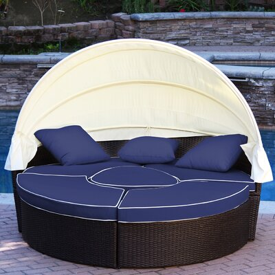 All-Weather 4 Piece Daybed Seating Group Set with Cushions Fabric: Blue