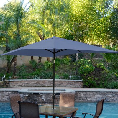 7 x 10 Rectangular Market Umbrella Frame Finish: Champagne, Fabric Color: Tan