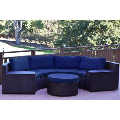 Cartagena 5 Piece Seating Group with Cushion Fabric: Blue
