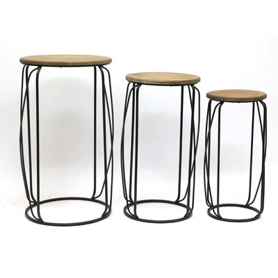 Metal Frame 3 Piece End Table