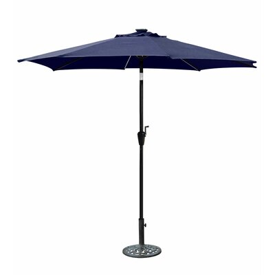 8.5 Solar Illuminated Octagonal Market Umbrella Fabric: Blue