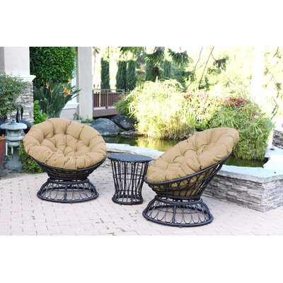 Papasan Espresso Wicker Swivel Chair and Table Set with Cushion Fabric: Tan