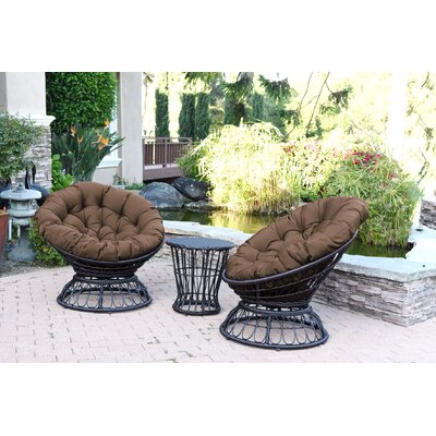 Papasan Espresso Wicker Swivel Chair and Table Set with Cushion Fabric: Brown