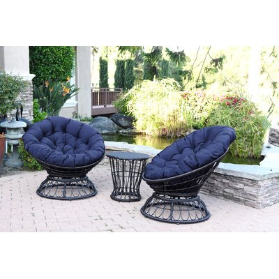 Papasan Espresso Wicker Swivel Chair and Table Set with Cushion Fabric: Blue