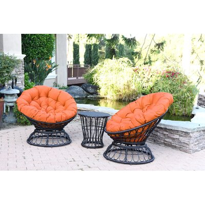 Papasan Espresso Wicker Swivel Chair and Table Set with Cushion Fabric: Orange