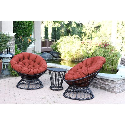 Papasan Espresso Wicker Swivel Chair and Table Set with Cushion Fabric: Brick Red