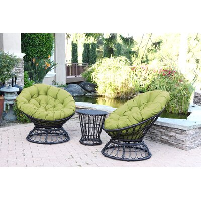 Papasan Espresso Wicker Swivel Chair and Table Set with Cushion Fabric: Green
