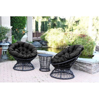 Papasan Espresso Wicker Swivel Chair and Table Set with Cushion Fabric: Black