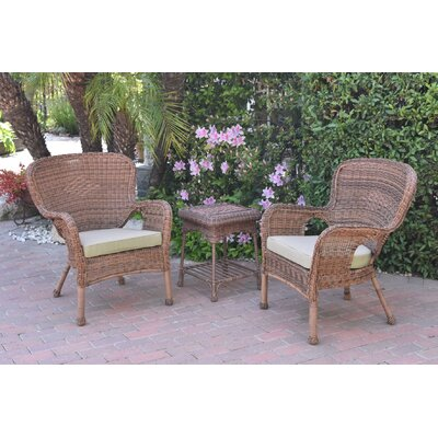 Honey Windsor Wicker 3 Piece Lounge Seating Group with Cushions Fabric: Tan, Frame Finish: Light Brown