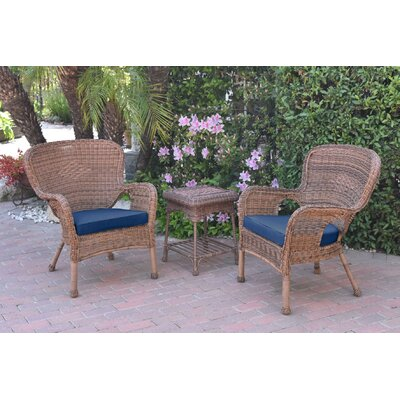Honey Windsor Wicker 3 Piece Lounge Seating Group with Cushions Fabric: Blue, Frame Finish: Light Brown