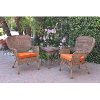 Honey Windsor Wicker 3 Piece Lounge Seating Group with Cushions Fabric: Orange, Frame Finish: Light Brown