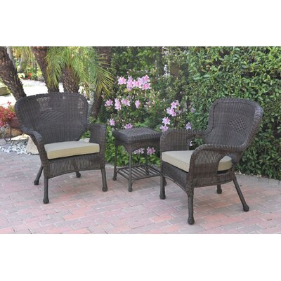 Honey Windsor Wicker 3 Piece Lounge Seating Group with Cushions Fabric: Green, Frame Finish: Light Brown