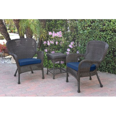 Honey Windsor Wicker 3 Piece Lounge Seating Group with Cushions Fabric: Blue, Frame Finish: Dark Brown