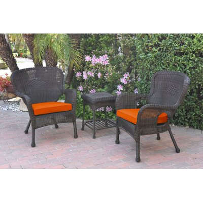 Honey Windsor Wicker 3 Piece Lounge Seating Group with Cushions Fabric: Orange, Frame Finish: Dark Brown