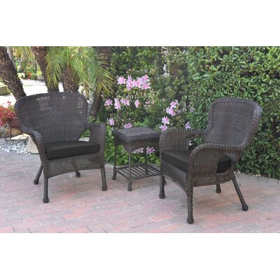 Honey Windsor Wicker 3 Piece Lounge Seating Group with Cushions Fabric: Black, Frame Finish: Dark Brown