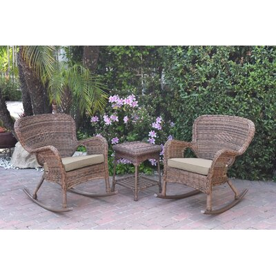 Honey Windsor Wicker 3 Piece Rocker Seating Group with Cushions Fabric: Tan, Frame Finish: Light Brown