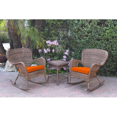 Honey Windsor Wicker 3 Piece Rocker Seating Group with Cushions Fabric: Orange, Frame Finish: Light Brown