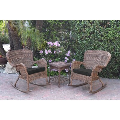 Honey Windsor Wicker 3 Piece Rocker Seating Group with Cushions Fabric: Black, Frame Finish: Light Brown