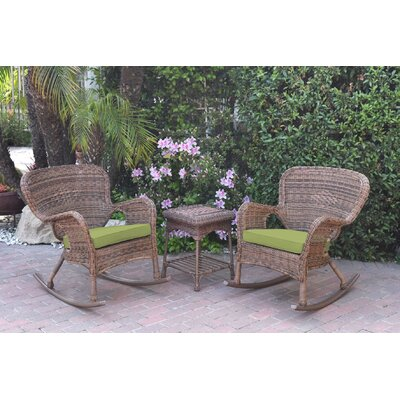 Honey Windsor Wicker 3 Piece Rocker Seating Group with Cushions Fabric: Green, Frame Finish: Light Brown