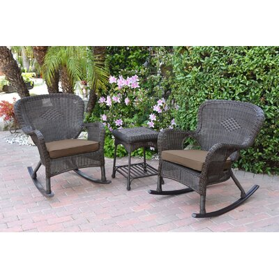 Honey Windsor Wicker 3 Piece Rocker Seating Group with Cushions Fabric: Brown, Frame Finish: Dark Brown