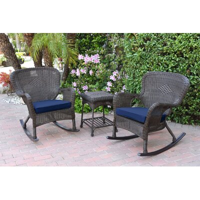 Honey Windsor Wicker 3 Piece Rocker Seating Group with Cushions Fabric: Blue, Frame Finish: Dark Brown