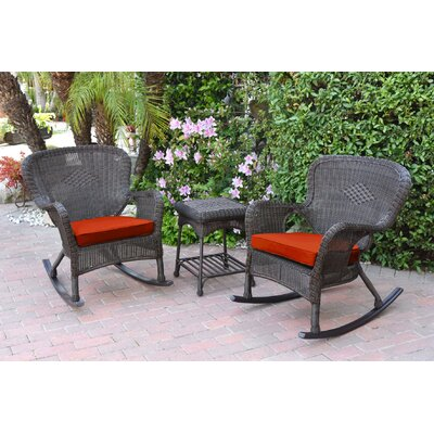 Honey Windsor Wicker 3 Piece Rocker Seating Group with Cushions Fabric: Red, Frame Finish: Dark Brown
