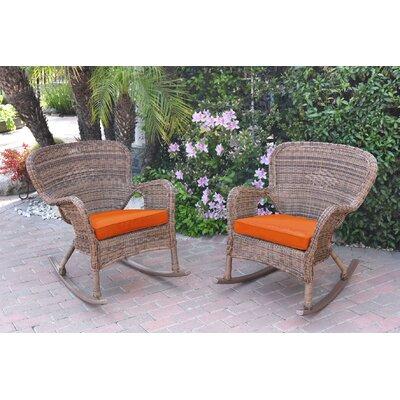 Warrensburg Rocking Chair with Cushions Finish: Honey, Fabric: Orange