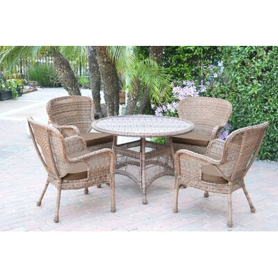 Warrensburg 5 Piece Dining Set with Cushions Finish: Honey, Fabric: Brown