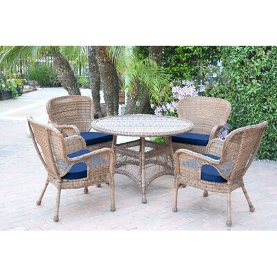 Warrensburg 5 Piece Dining Set with Cushions Finish: Honey, Fabric: Blue