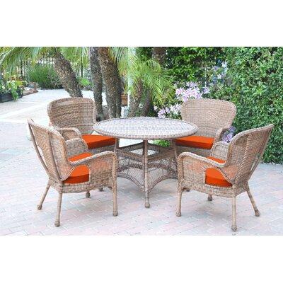 Warrensburg 5 Piece Dining Set with Cushions Finish: Honey, Fabric: Orange