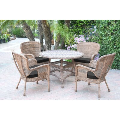 Warrensburg 5 Piece Dining Set with Cushions Finish: Honey, Fabric: Black