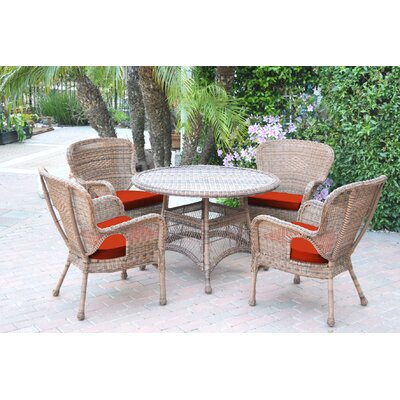 Warrensburg 5 Piece Dining Set with Cushions Finish: Honey, Fabric: Red