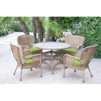 Warrensburg 5 Piece Dining Set with Cushions Finish: Honey, Fabric: Green