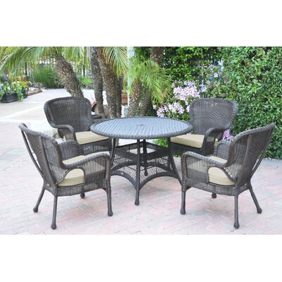 Warrensburg 5 Piece Dining Set with Cushions Finish: Espresso, Fabric: Tan