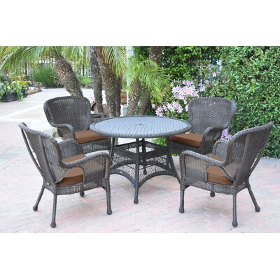 Warrensburg 5 Piece Dining Set with Cushions Finish: Espresso, Fabric: Brown