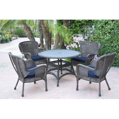 Warrensburg 5 Piece Dining Set with Cushions Finish: Espresso, Fabric: Blue