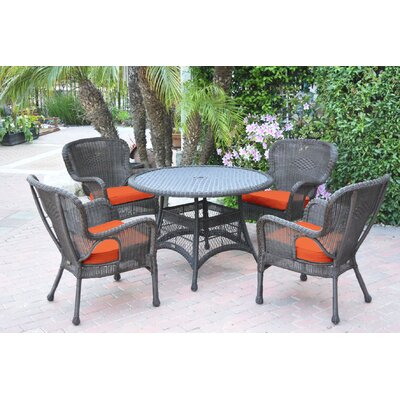 Warrensburg 5 Piece Dining Set with Cushions Finish: Espresso, Fabric: Orange