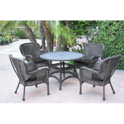 Warrensburg 5 Piece Dining Set with Cushions Finish: Espresso, Fabric: Black