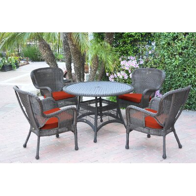 Warrensburg 5 Piece Dining Set with Cushions Finish: Espresso, Fabric: Red