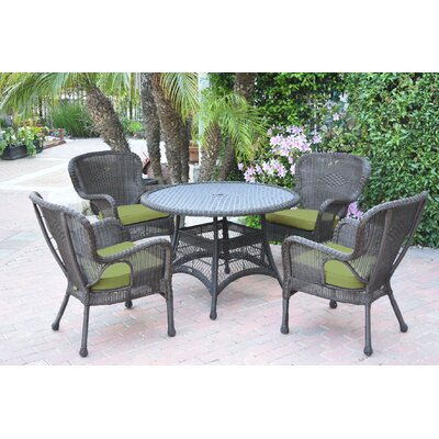 Warrensburg 5 Piece Dining Set with Cushions Finish: Espresso, Fabric: Green