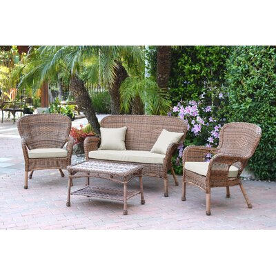 Bellas 4 Piece Wicker Conversation Seating Group with Cushions Fabric: Tan, Frame Finish: Honey