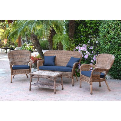 Bellas 4 Piece Wicker Conversation Seating Group with Cushions Fabric: Blue, Frame Finish: Espresso