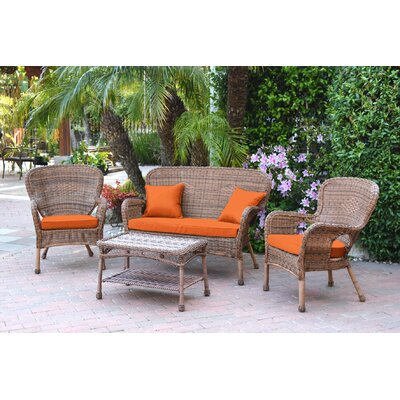 Bellas 4 Piece Wicker Conversation Seating Group with Cushions Fabric: Orange, Frame Finish: Honey
