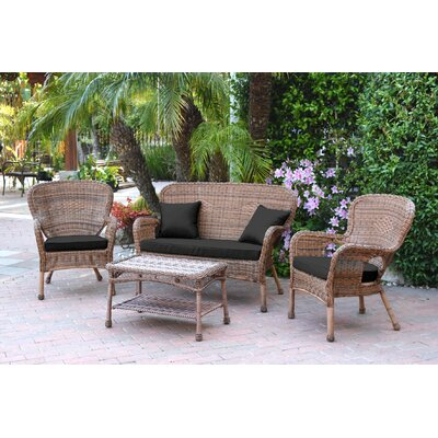 Bellas 4 Piece Wicker Conversation Seating Group with Cushions Fabric: Black, Frame Finish: Honey